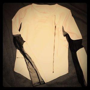‼️BOGO White and Black Dressy Blouse Mesh Sleeves